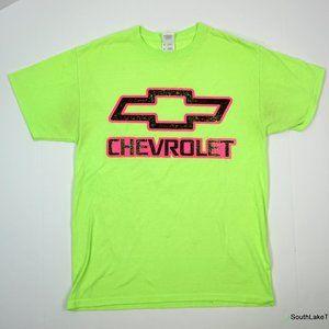 Chevrolet Neon Green Pink Logo T-Shirt Men's Med